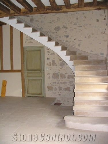 combe brune limestone solid or dressed stone staircase from france