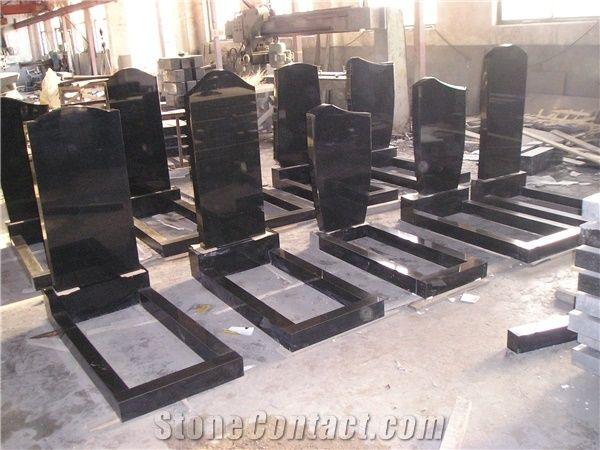 Headstones With Flower Bed Black Granite Tombstone