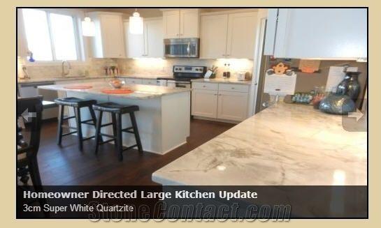 3cm Super White Quartzite Kitchen Countertops