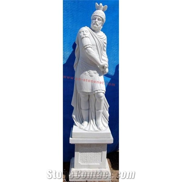 Decorative Garden Life Size Warrior Statues, White Marble Statues