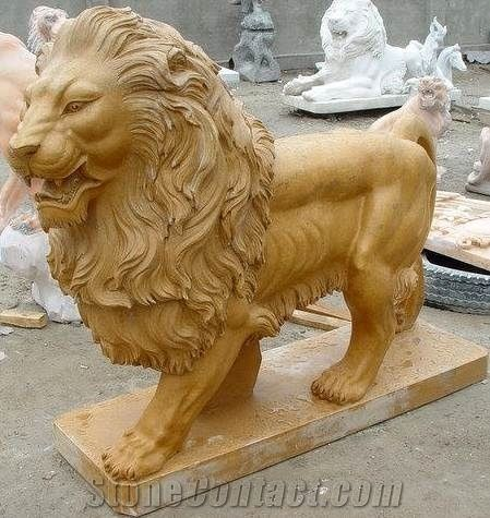 Large Yellow Marble Stone Lions Sculpture Garden Marble