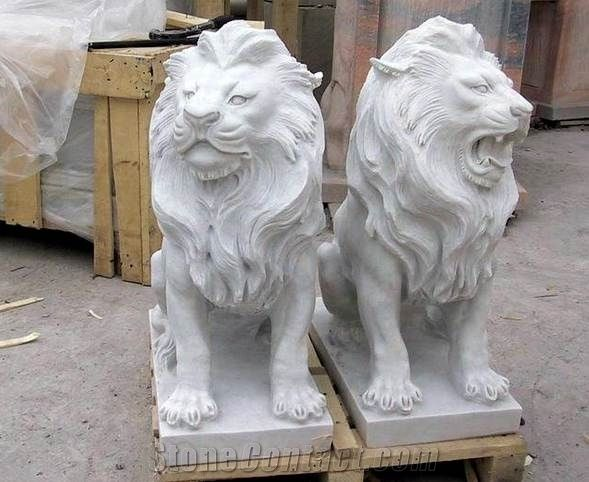 White Marble Lion Sculpture Garden Stone Lion Statues From