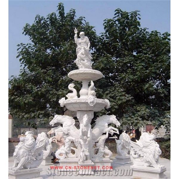 White Marble Water Garden Fountain With Statues Cl Con004