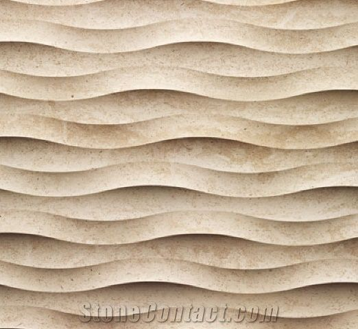 3d Stone Wall Tile Wavy Pattern Beige Limestone Wall From