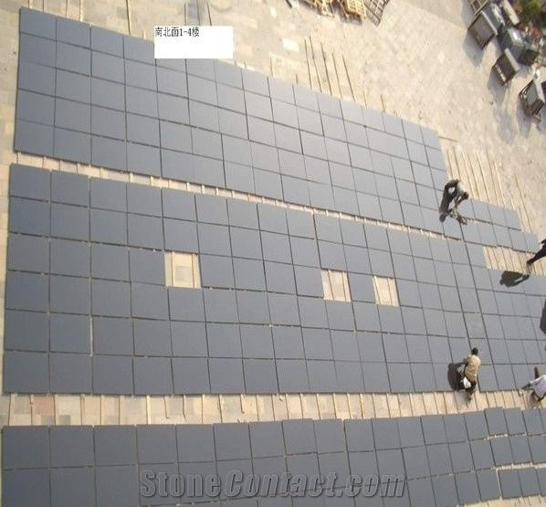 China Shanxi Black Granite Tiles Honed Matt Finish For