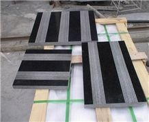 Shanxi Black Grantie Tiles with Groove Surface Finish, Shanxi Black , Absolute Black , Nero Assoluto Granite Slabs & Tiles