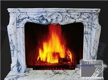 Marsella Fireplace Mantel in Arabescato Corchia Marble