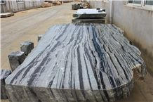 Black and White Natural Stone Table & Bench