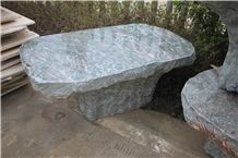 Green Natural Stone Bench, Stone Table Set