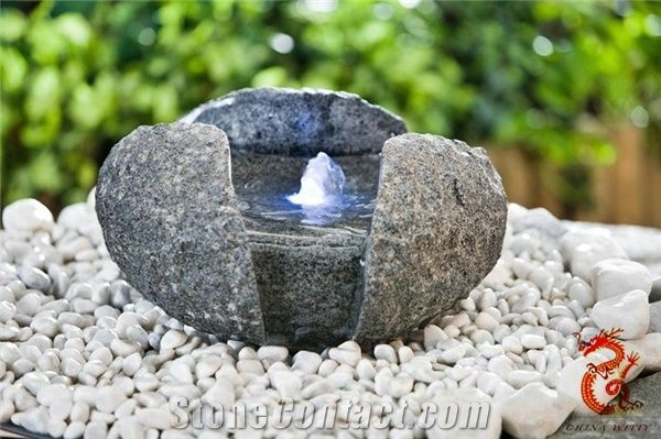 Outdoor Stone Water Fountain With Light Black Granite Fountains
