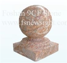 Light Red Marble Ball 20x20x28 cm Square , Ball Red Marble Pier Caps Quoins