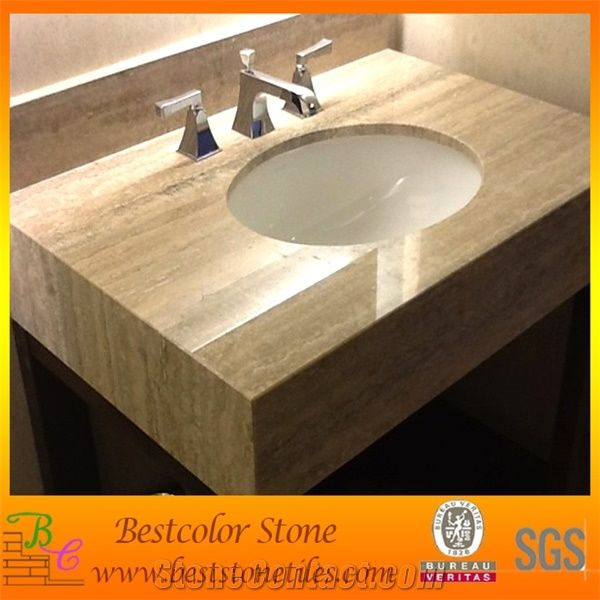 Travertine Vanity Top With Ceramic Sink For Hotel Bathroom Project
