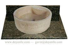 New Cream Marfil Barrel Sinks 420x140, New Cream Marfil Marble Sinks