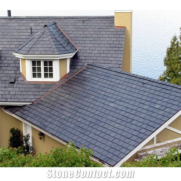 natural stone roof covering tiles black slate roof