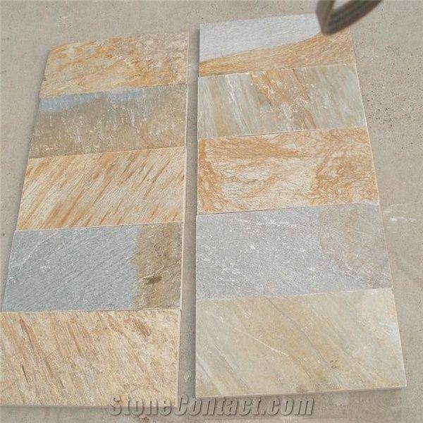 P014 Yellow Quartzite Flooring Tiles Yellow Quartzite Floor