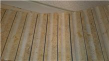 Veneer Curved Wall Tiles, Yellow Limestone Wall