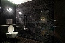 Forest Black Marble Bathroom Design Wooden