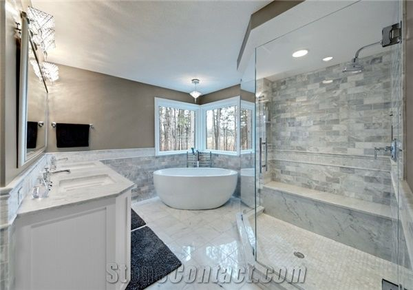 Bianco Carrara Marble Bathroom Design From United States