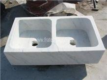 Solid White Carrara Marble Kitchen Farm Sink