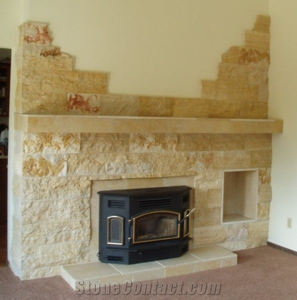 Splitface Sandstone Fireplace Design Yellow Sandstone