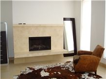Jerusalem Royal Cream Beige Limestone Fireplace Design