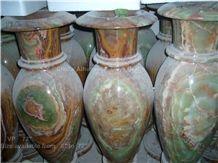 Onyx Flower Vases, Multi Green Onyx Vases