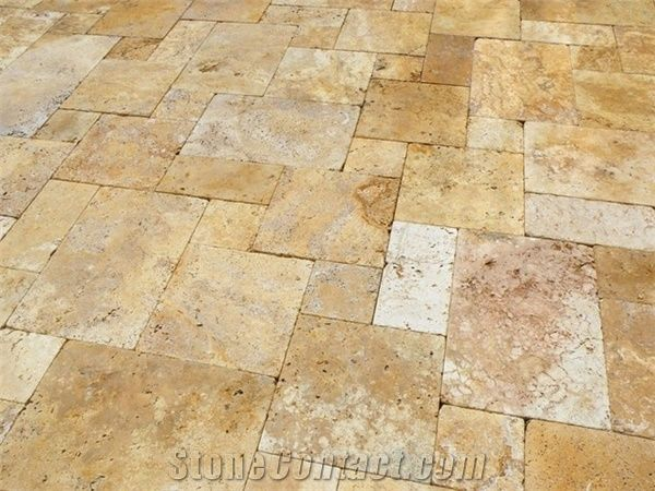 Tumbled Byzantine Gold Travertine French Pattern Floor