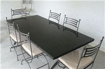 8-Seat-Black-Granite-Table, Black Granite Dinner Table Top