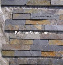 Rusty & Black Slate Cultured Stone(Ledge Stone),Flat Finish