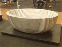 White Wood Veins Marble Round Bathtub