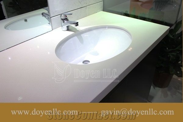 Athens White Quartz Bathroom Vanity Top Wt Double Oval