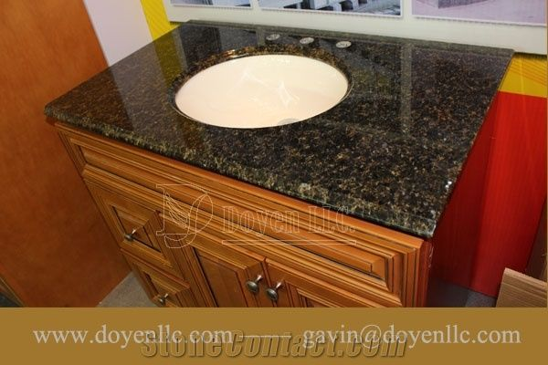 Brazil Verde Uba Tuba Granite Bathroom Vanity Tops Wt Oval Ceramic Sink Strong Ng