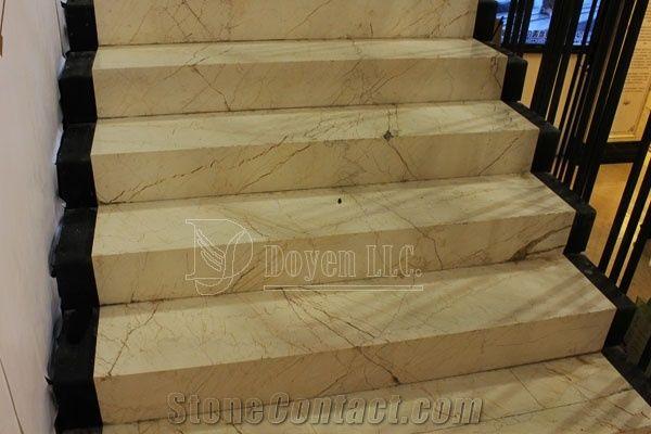 Gloden Sunset Beige Marble Interior Stair Treads Steps