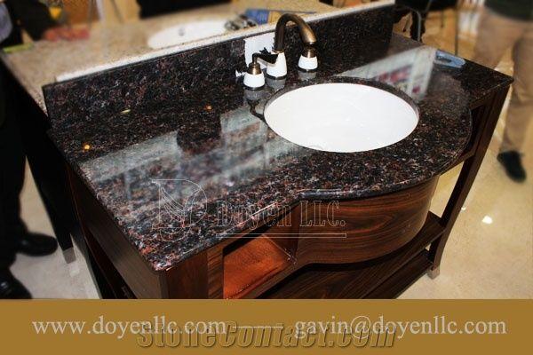 India Tan Brown Granite Bathroom Vanity Tops Wt White