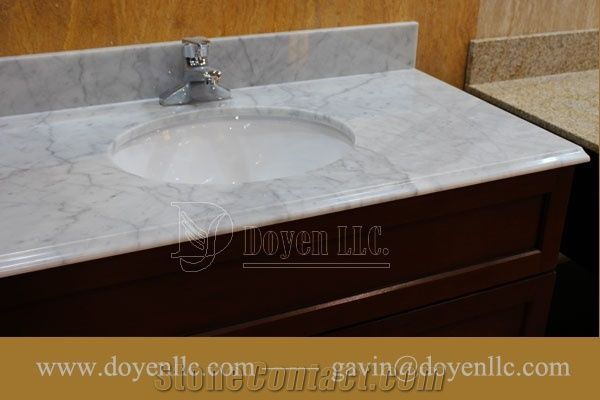 Italy Carrara White Marble Bathroom Vanity Top with Sink Faucet Pre ...
