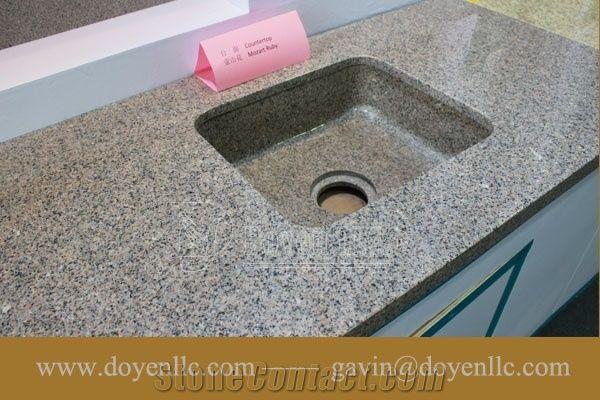 Mozart Ruby Granite Bathroom Vanity Top Wt Rectangular Vessel Sink Pre Attached