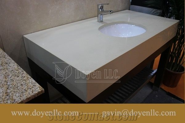 Pure White Quartz Bathroom Vanity Tops With Sink A Attached Whit