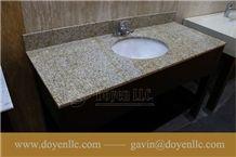Rusty Yellow, G682 Golden Peach China Granite Bathroom Vanity Top Wt Ceramic Sink