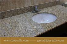 Rusty Yellow, G682 Golden Peach China Granite Bathroom Vanity Top Wt Undermount Ceramic Sink