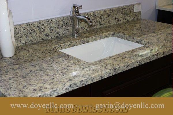 Samoa Beige Granite Bathroom Vanity Top Wt Rectangular Vessel Sink Pre Attached