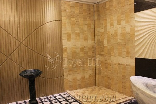 Yellow Sandstone Bathroom Shower Tubs & Walling Designs with Tiles ...