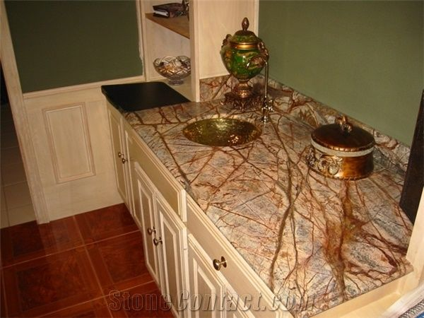 Rainforest Brown Marble Bathroom Countertops From China