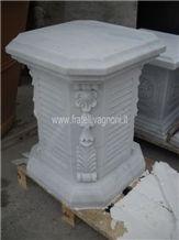 Bianco Carrara Marble Pedestal Column Base