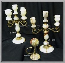 White Onyx Candle Holders