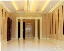 Beige Nano Crystallized Glass Stone Column Interior Stone Building Customized Size Stone Pillar