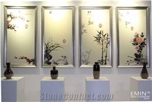 Crystallized Glass Stone Home Design Beige Art Works Colored Sculpture Wall Decoration Panell Customized Size