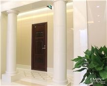 Quality Beige White Nano Crystallized Glass Stone Column Interior Building Stone Artificial Stone Pillar