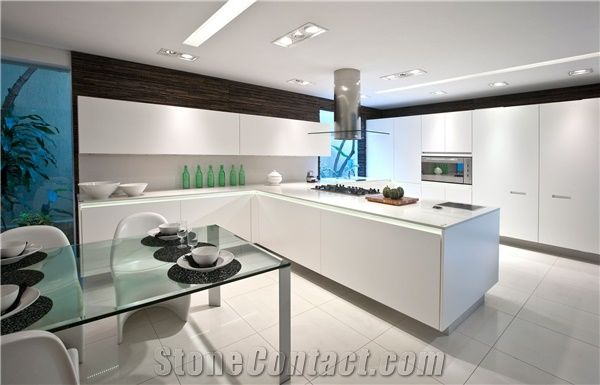 White Zues Silestone Quartz Counter Tops, White Kitchen Countertops