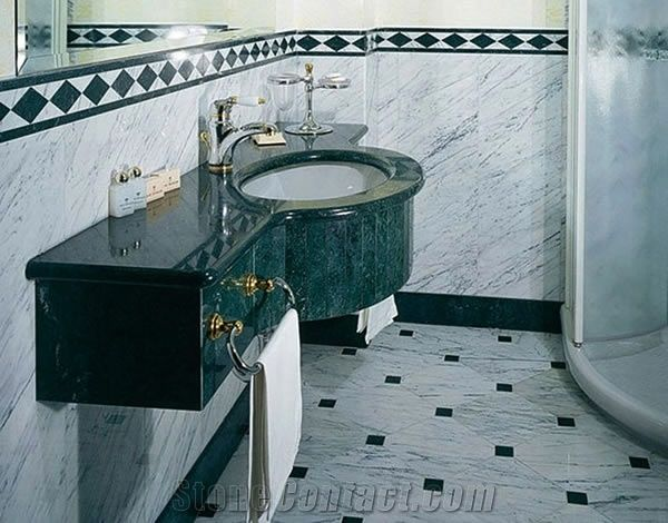 Bianco Carrara Marble Bathroom Design Green Marble From