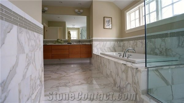 Calacatta Gold Marble Bathroom Design From United States